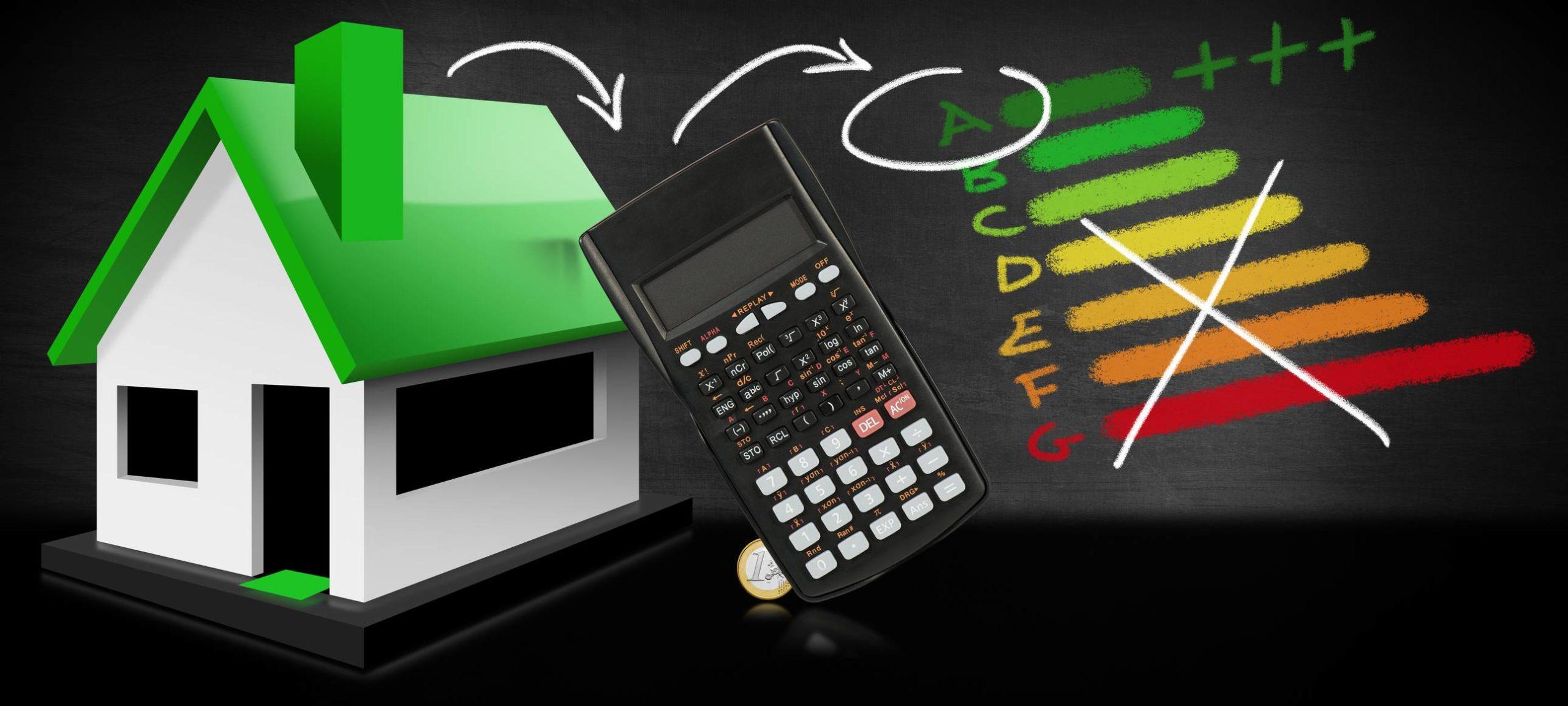 Une maison avec calculatrice
