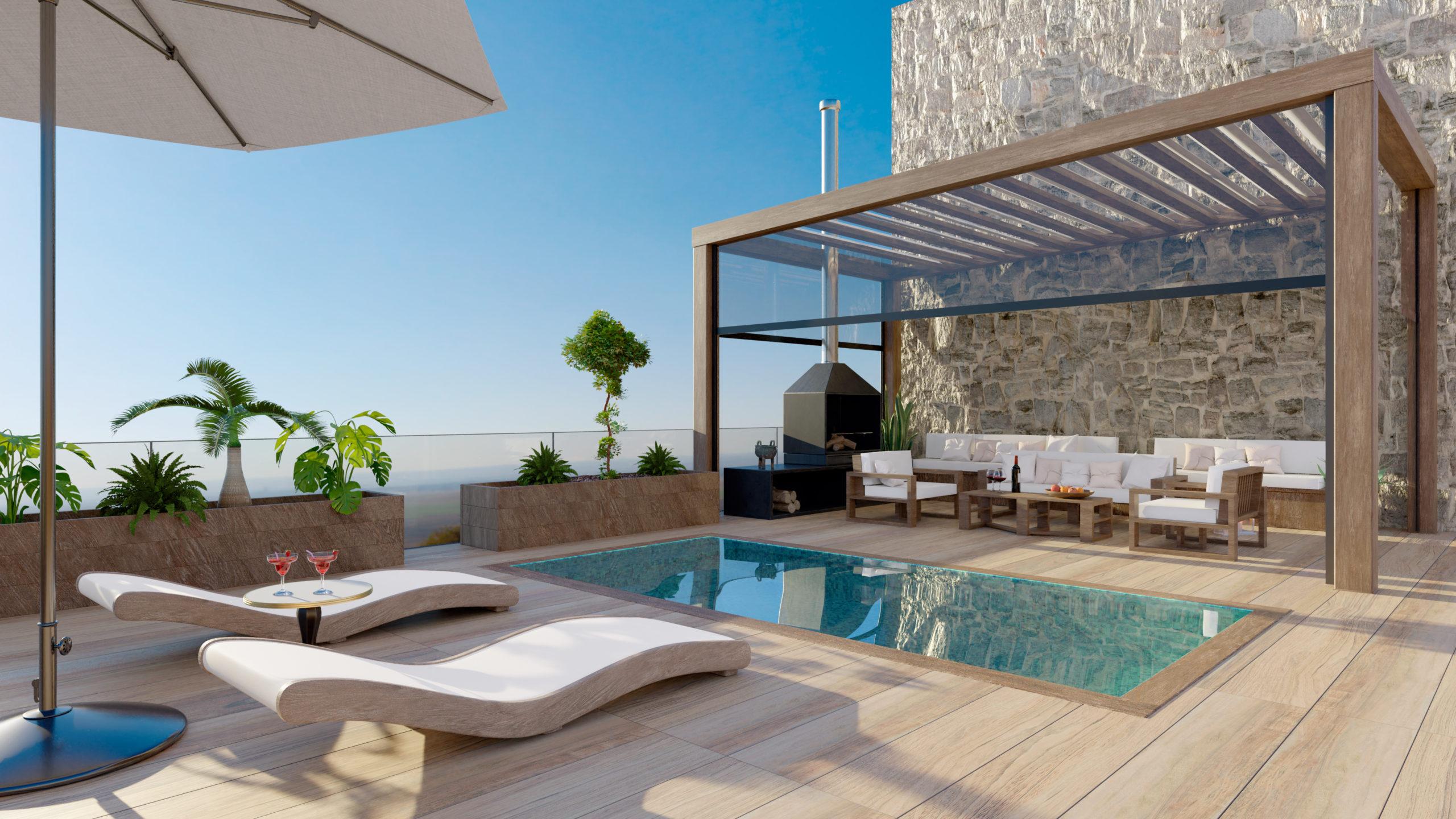 Une terrasse avec piscine et pergola