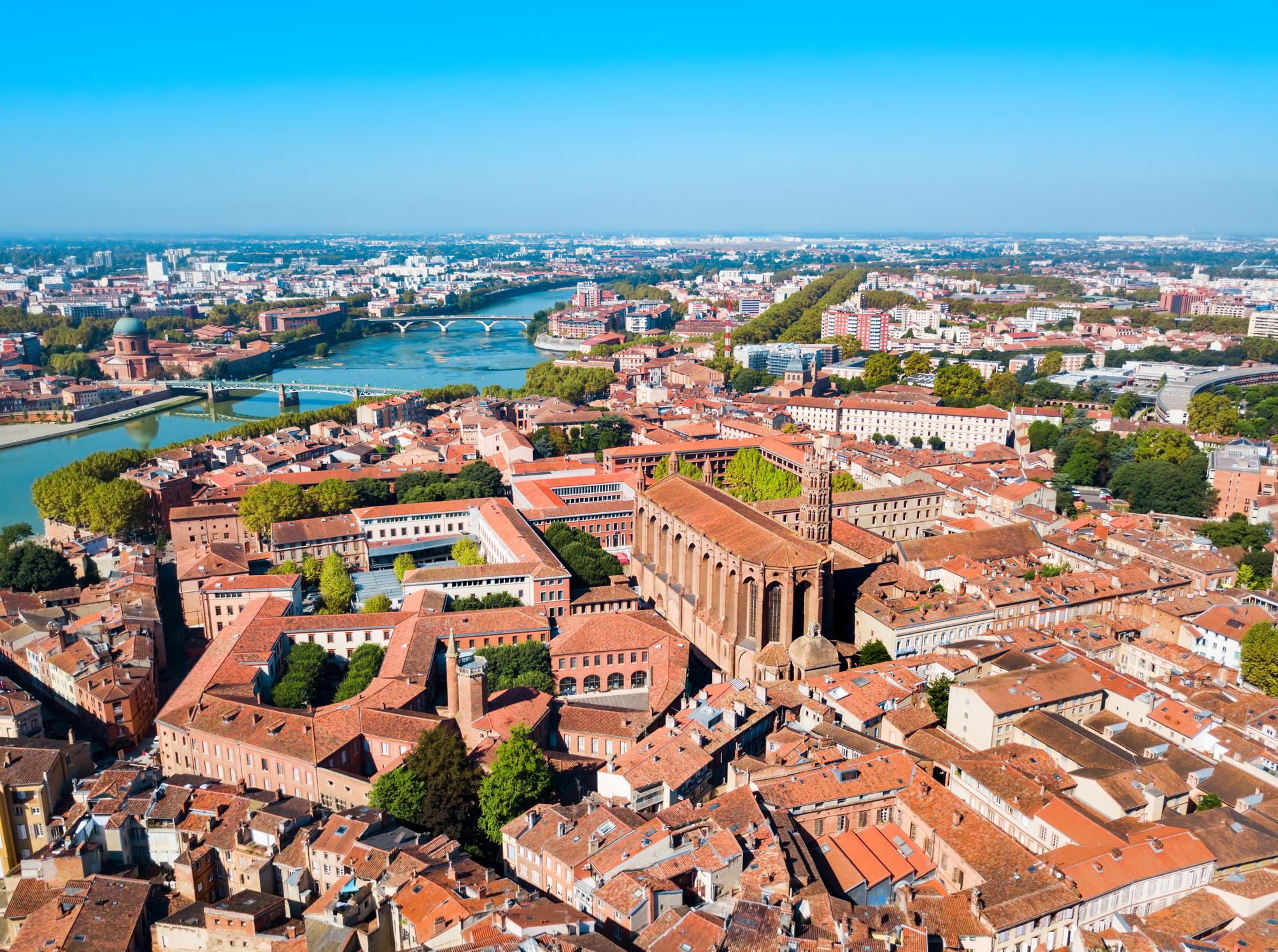 Paysage vu du ciel ville Toulouse