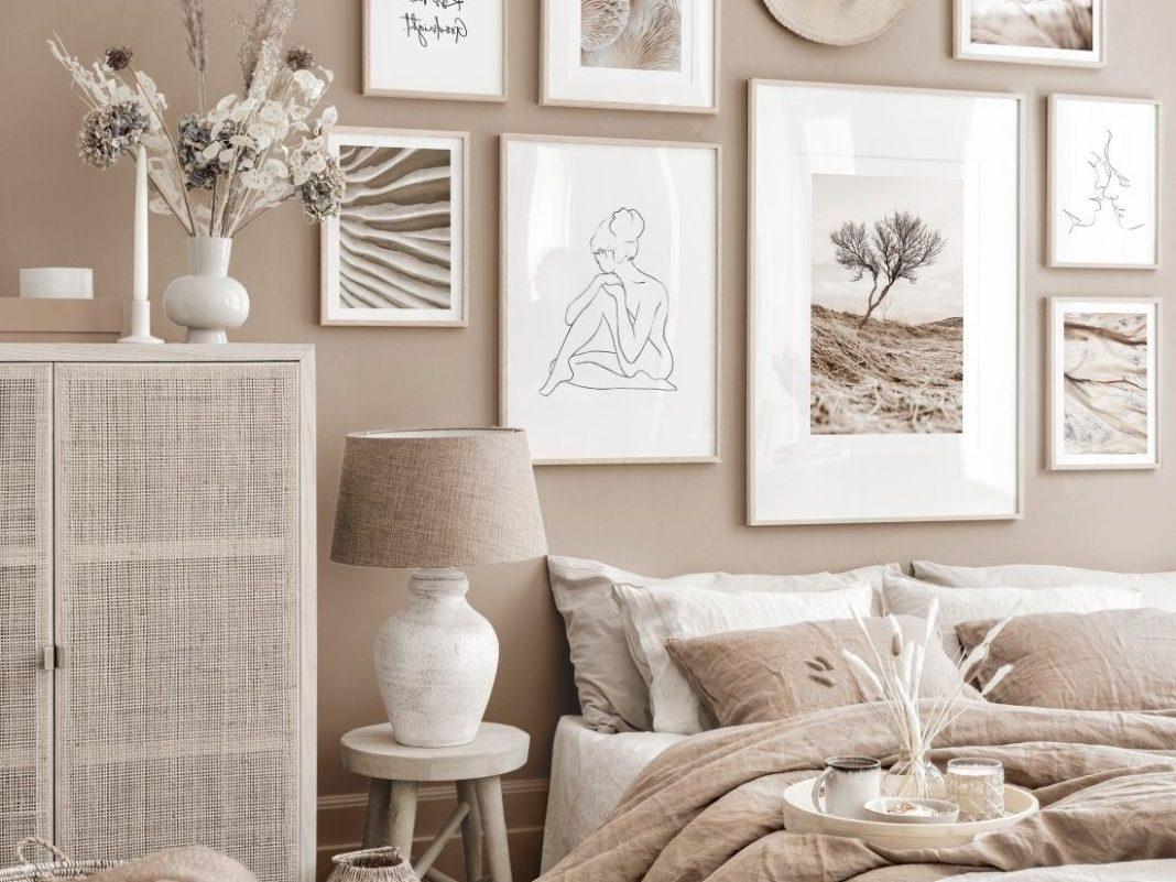 décoration couleur taupe tableau chambre